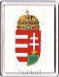 Magyar címer fehér alapon hűtőmágnes (műanyag keretes)