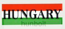 Nemzeti színű Hungary felirattal matrica