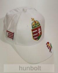 Baseball nagy címeres fehér sapka, Nagy-Magyarország hímzéssel