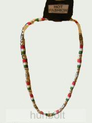 Piros-fehér-zöld fényes gyöngy nyaklánc