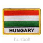Felvasalható hímzett piros-fehér-zöld matrica Hungary felirattal (8,5 X 5,5 cm)