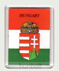 Magyar címer Hungary felirattal  hűtőmágnes  (műanyag keretes mágnes)