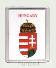 Magyar címer Hungary felirattal fehér alapon hűtőmágnes (műanyag keretes mágnes)