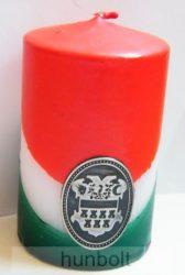 Nemzeti színű henger gyertya 10cm, ón Erdély címerrel (3,2x4 cm)