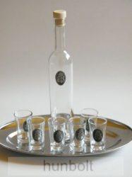 Ón Kossuth címeres pálinkás pohár készlet tálcával 6db 47 ml/db