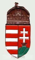 Falra akasztható festett, öntött bronz címer 10 cm