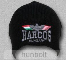 Kötött fekete sapka HARCOS sassal színes, dupla rétegű