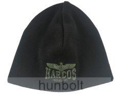 Kötött fekete sapka HARCOS sassal egyszínű, dupla rétegű