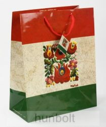 Piros-fehér-zöld antikolt matyó dísztasak 23x18 cm, ajándék tasak