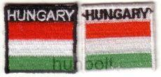 Négyszögletű felvasalható hímzett piros-fehér-zöld matrica Hungary felirattal  35 mm