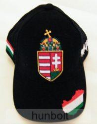 Baseball nagy címeres fekete sapka Magyarország hímzéssel
