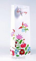 Kalocsai mintás italos Hungary matt fehér dísztasak 124x76x362 mm, ajándék tasak
