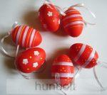 Piros színű, festett műanyag tojás 6db