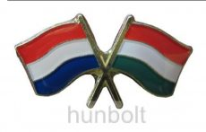 Kitűző, páros zászló Holland-Magyar jelvény 26x15 mm