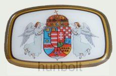 Szögletes angyalos címeres övcsat 9,5x6,5cm, ezüst színű kerettel.