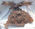 Faragott Nagy-Magyarország térkép angyalos címerrel, turullal falidísz, dió színben