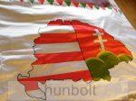 Selyem farkasfogas Nagy-Magyarországos falidísz 100x200 cm, 4 sarkában ringlivel
