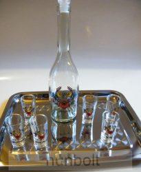 Kalocsai virágmintás  üvegdugós üveg szett