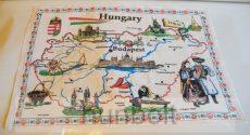 Terítő, konyharuha, Magyarország térképes 46,5x69cm