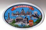 Ovális Budapest kék matrica 12x8 cm