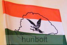 Piros-fehér-zöld  turulos zászló Nagy-Magyarország körvonallal