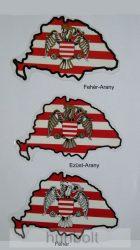 Nagy-Magyarország árpádsávos belső matrica, pajzsos turullal különböző színű szárnnyal (15x10cm)
