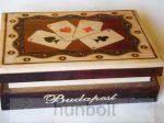 Budapest feliratos römi kártyadoboz fából- 2 fakkos  15x12x4cm