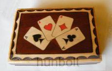 Budapest feliratos römi kártyadoboz fából- 1 fakkos 13x9x4 cm