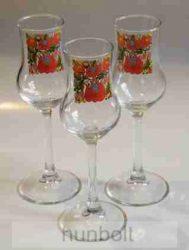 Matyó mintás, felirat nélküli talpas pálinkás pohár szett 3db (tulipános, grappás pohár) 70 ml