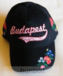 Baseball kalocsai simléderen hímzett Budapest-Hungary  fekete színű sapka