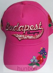 Baseball kalocsai simléderen hímzett Budapest-Hungary pink színű sapka