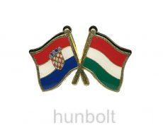Kitűző, páros zászló Horvát-Magyar jelvény 26x15 mm