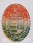 Koszorús címer, piros-fehér-zöld öntapadó ón matrica Hungary felirattal (10X7cm)