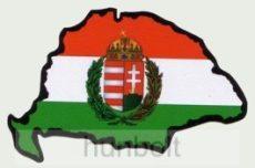 Koszorús címeres hűtőmágnes Nagy-Magyarország körvonallal