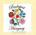 Kalocsai virágok matrica 10 x10 cm, Budapest-Hungary felirattal