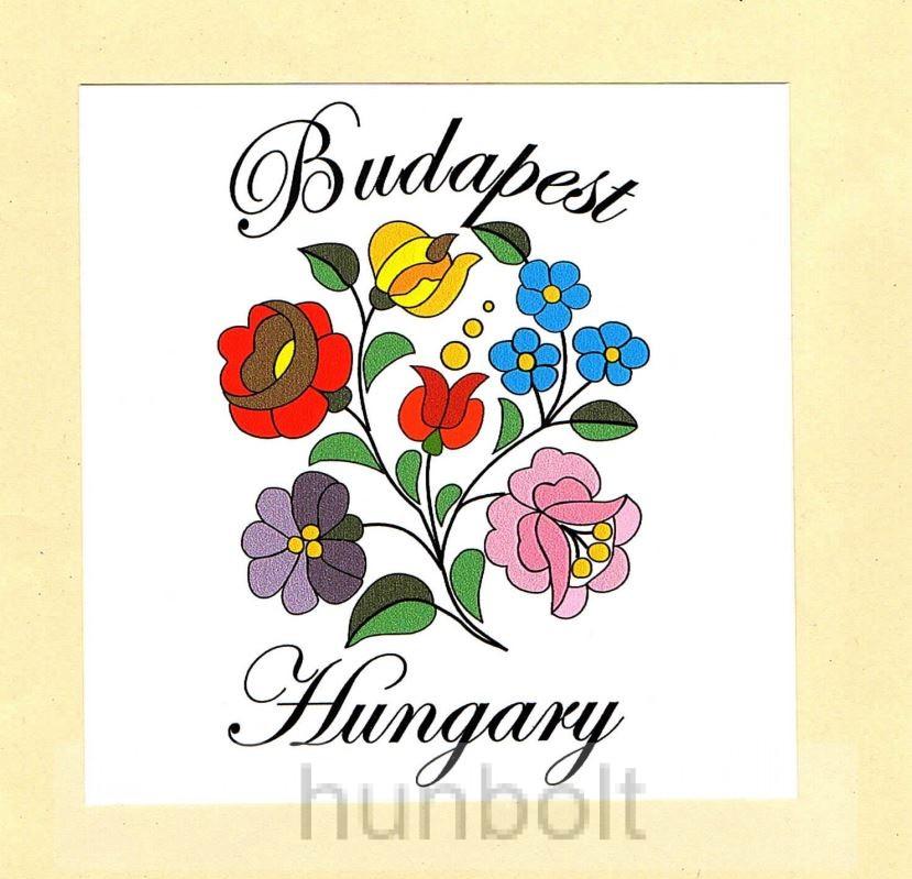 484dee67b7 Kalocsai virágok matrica 10 x10 cm, Budapest-Hungary felirattal ...
