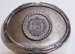Ezüst színű ovális Kossuth koszorús címeres övcsat (7,5 X 6,5cm)