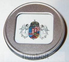 Műanyag keretes hűtőmágnes angyalos címer szögletes belsővel