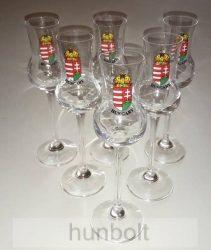 Festett címeres talpas pálinkás pohár (tulipános, grappás pohár) 70 ml nyomtatott Hungary felirattal 6db
