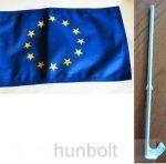 Autós Európa zászló ablakra tűzhető, műanyag tartóval (25x35 cm)