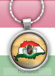 Angyalos címeres Nagy-Magyarország üveglencsés kulcstartó