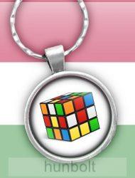 Rubik kocka üveglencsés kulcstartó