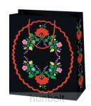 Kalocsai terítős fekete lakk dísztasak  (ajándék tasak)
