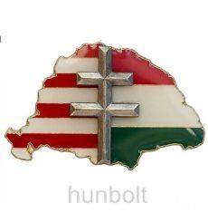 Nagy-Magyarországos osztott, ezüst kettős kereszttel jelvény (39x24 mm)