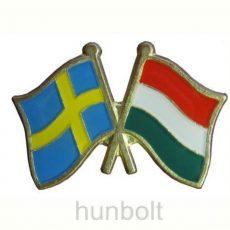 Kitűző, páros zászló Svéd -Magyar jelvény 26x15 mm