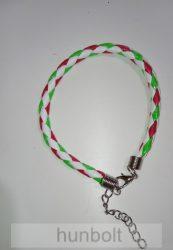 Műbőr fonott fehér piros-fehér-zöld vékony karkötő