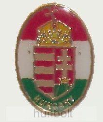 Ovális aranyozott címeres (25 mm) jelvény Hungary felirattal