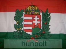 Nemzeti színű koszorús címeres zászló (45x28 cm) műanyag rúddal