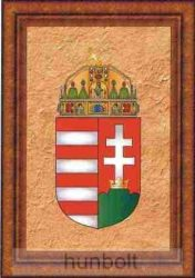 Üveglapos falikép, címeres, nyomtatott kerettel