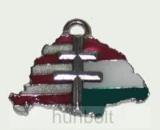 Nagy-Magyarországos osztott kettőskeresztes bőrszíjas nyaklánc (39x24 mm)